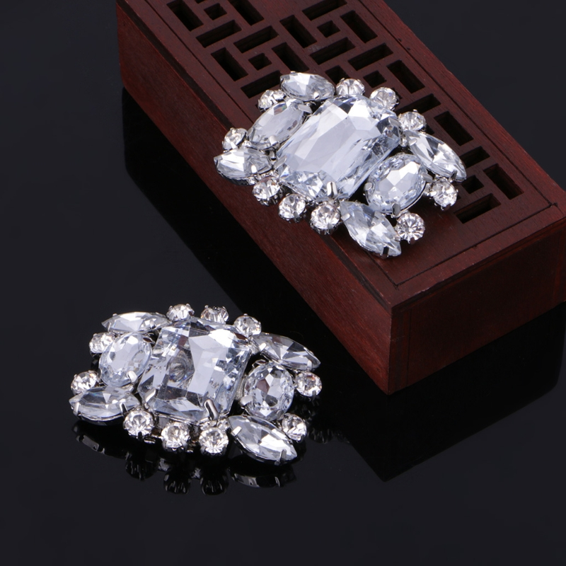 2Pcs Shoes Decoration Rhinestone Alloy Glass Shoe Clips Elegant Buckles Fashion