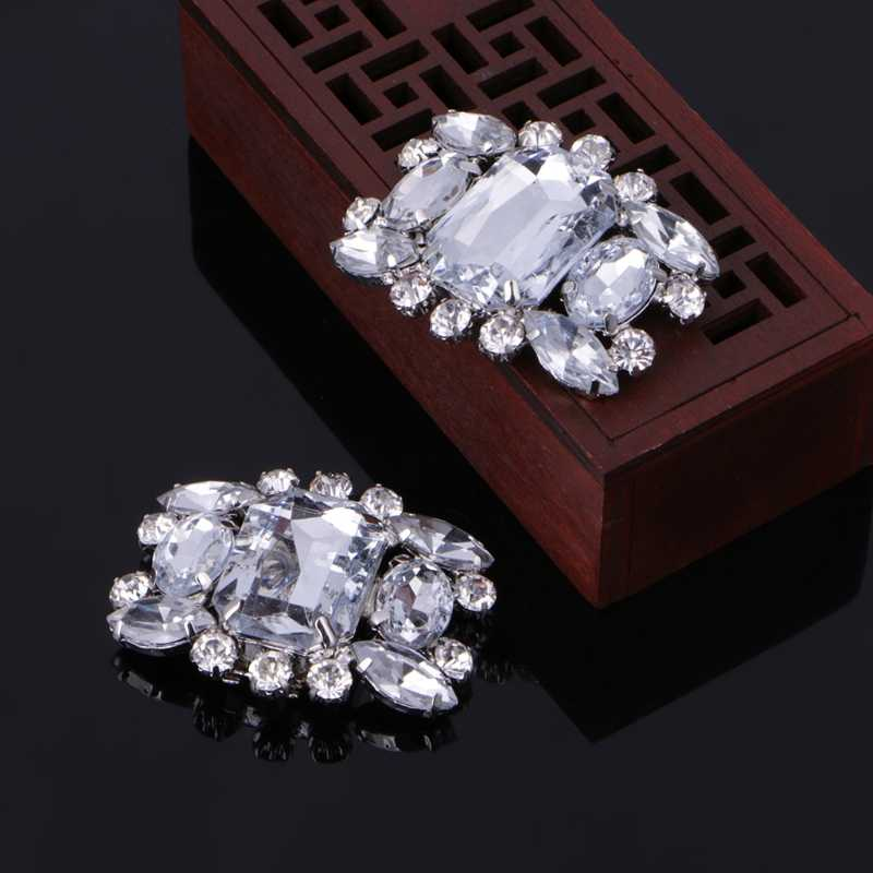 EYKOSI 2Pcs Shoes Decoration Rhinestone Alloy Glass Shoe Clips Elegant  Buckles Fashion 005d0432a7e2