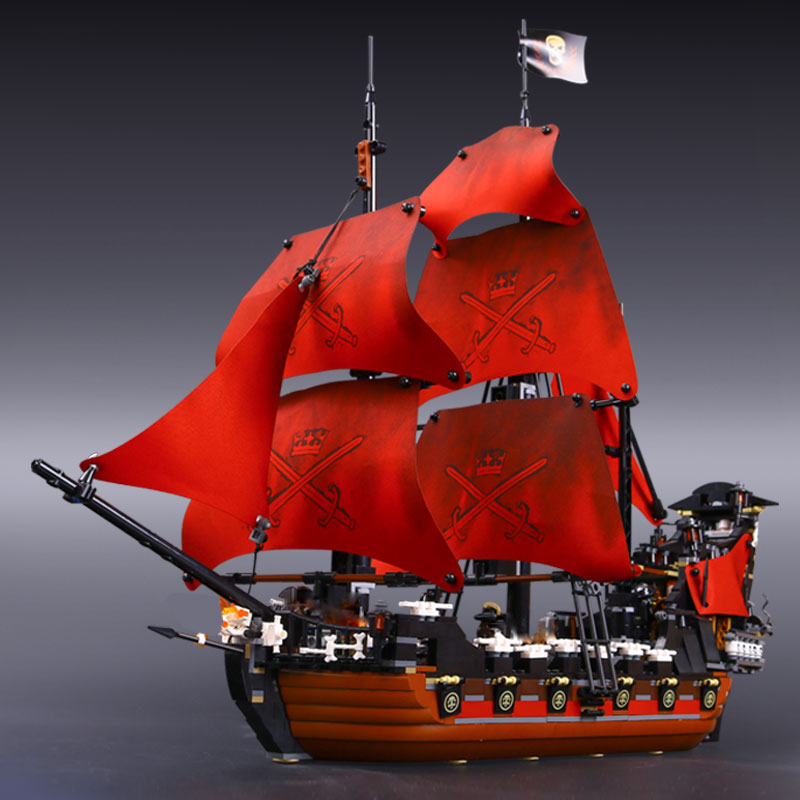 Lepine Model & Building Blocks Bricks Queen Anne's revenge Pirates of the Caribbean Ship set DIY Children Gift Lepiner 16009 lepin 16009 caribbean blackbeard queen anne s revenge mini bricks set sale pirates of the building blocks toys for kids gift