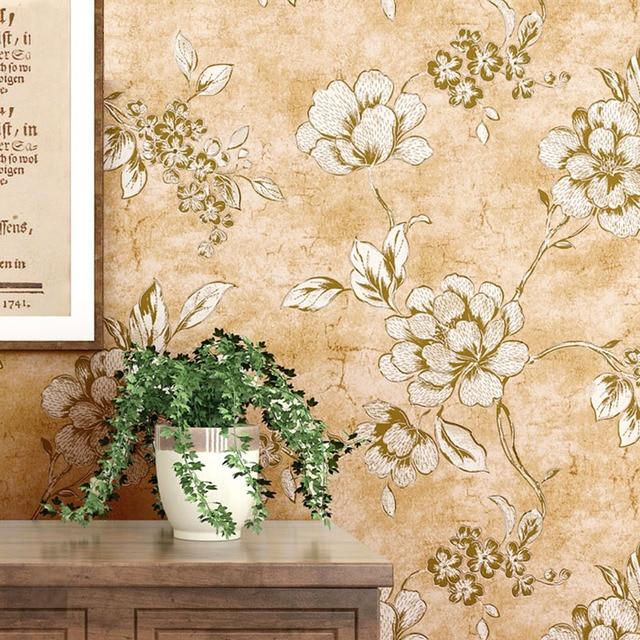 Style Americain Papier Peint Vintage Fleur 3d Rustique Papier Peint