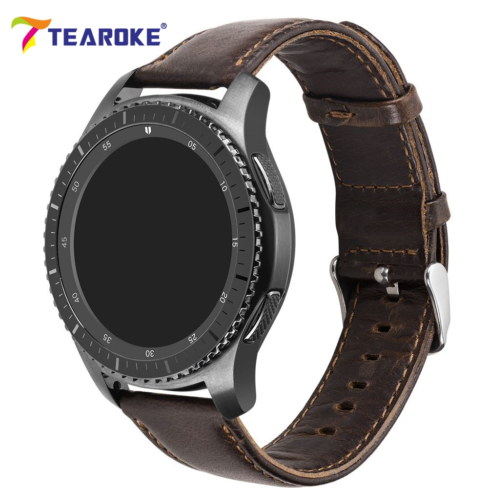 TEAROKE Crazy Horse Leather Watchband for Samsung Gear S2 S3 Dark Brown Replacement Bracelet Strap for