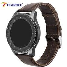 TEAROKE Correa de Cuero de Caballo Loco para Samsung S2 S3 de Engranajes Marrón oscuro Reemplazo S3 S2 Reloj de Pulsera Correa de Engranaje banda