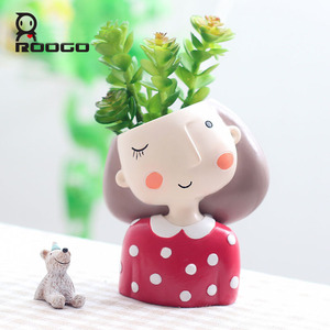 Image 3 - Roogo Cartoon Animal Zebra Decorative Flower Pot Resin Succulent Plant Pot Garland girl Bonsai Pot For Flower Cute Flowerpots