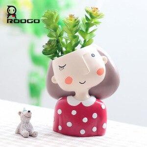 Image 3 - Roogo maceta decorativa para flores de cebra, maceta de resina para planta suculenta, guirnalda, maceta para flores