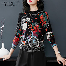 YISU 2018 autumn Women's Tops Knitted Sweaters long Sleeve Printed Female Pullover Cartoon cat Jumper High Quality Sweater(China)
