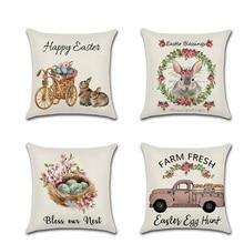 Easter Day Cushion Cove Lovely Rabbit Smear Egg Car Printed Linen Pillow Case For  For Home Sofa Celebration Festival Pillowcase недорого