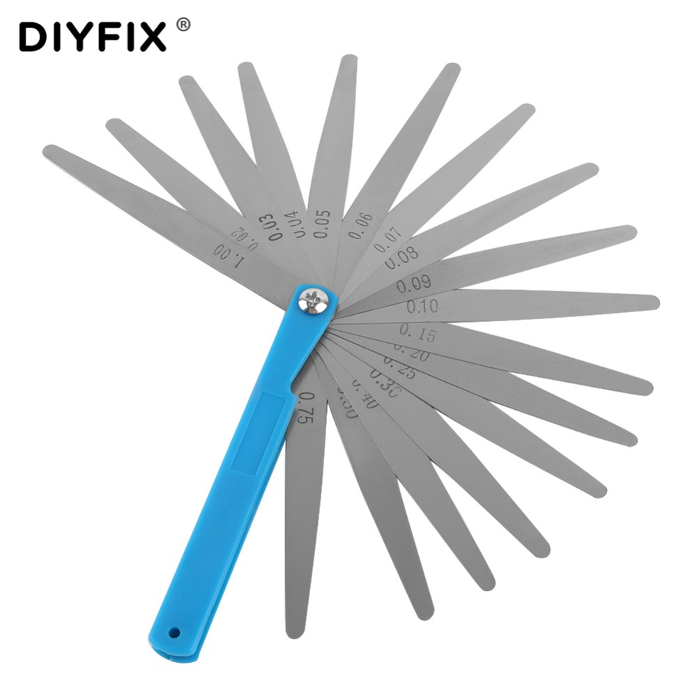 DIYFIX Stainless Steel 0.02mm To 1mm 17 Blade Thickness Gap Metric Filler Feeler Gauge Measure Tool