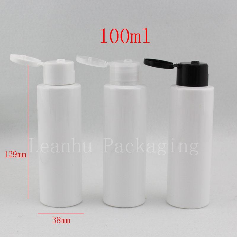 100ml white bottle with flip top cap