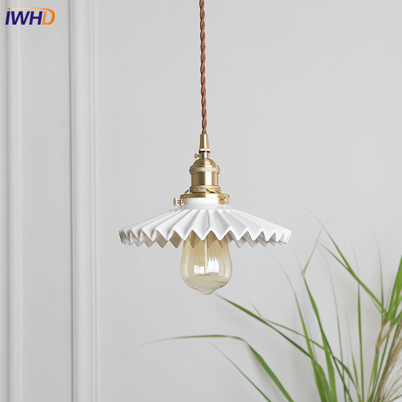 IWHD Creative Nordic LED Pendant Lights Ceramic Lampshade Hanglamp Vintage Loft RH Suspension Luminaire Retro Loft Home Lighting iwhd iron nordic pink led pendant lights vintage industrial loft pendant lamp retro hanglamp fixtures home lighting luminaire