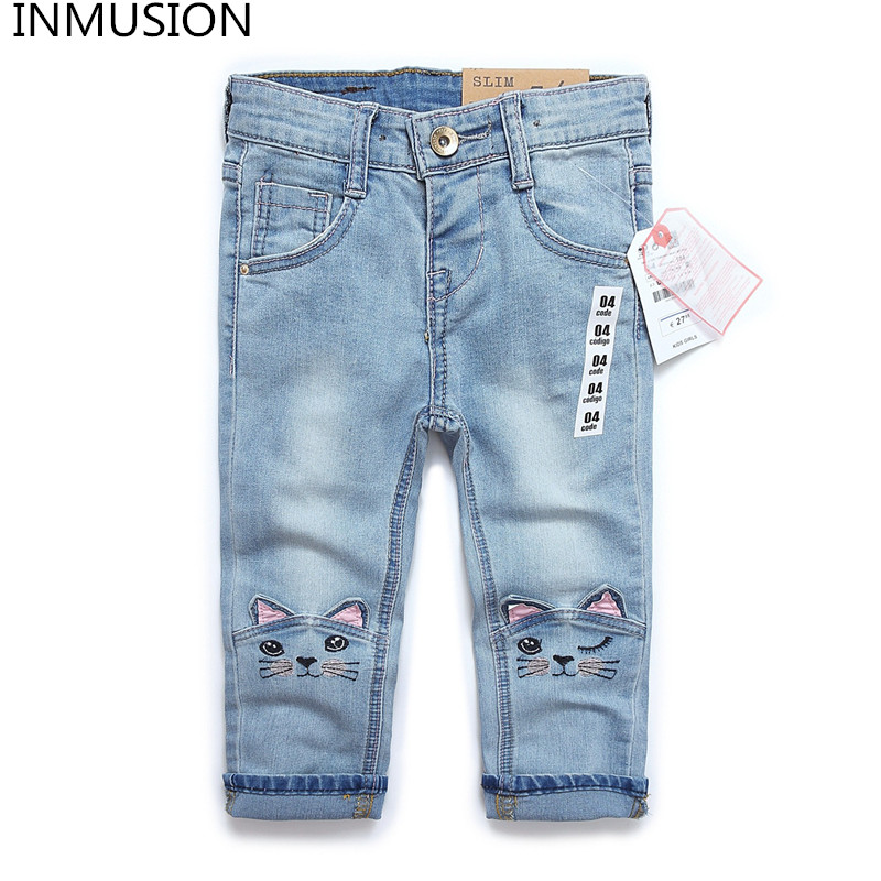 INMUSION 2017 brand children 's wear spring jeans trousers leisure Slim Regular pants cartoon cat baby girl jeans цена