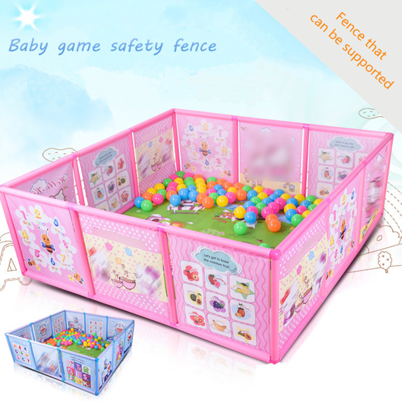 <font><b>Baby</b></font> Playpen Fence Plastic <font><b>Baby</b></font> Safety Fence <font><b>Pool</b></font> Folding Guard Protection Safety Products Infant Crawling Safety Guardrail Step image