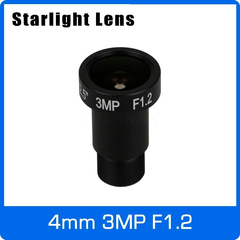 Lente luz das estrelas 3mp 4mm abertura fixa f1.2 para sony imx290/291/307/327 ultra baixa luz cctv ahd câmera ip frete grátis
