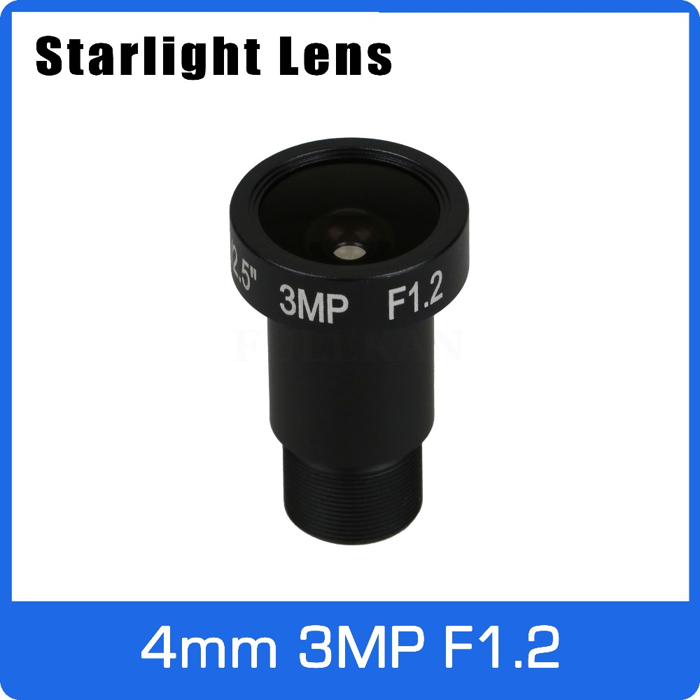 Starlight Lens 3MP 4mm Fixed Aperture F1.2 For SONY IMX290/291/307/327 Ultra Low Light CCTV AHD Camera IP Camera Free Shipping