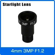 Объектив Starlight 3MP 4 мм Фиксированная диафрагма F1.2 для Sony imx290/291/307/327 Ultra Low Light CCTV AHD Камера IP Камера Бесплатная доставка