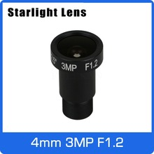 Starlight Lens 3MP 4mm Fixed Aperture F1.2 For SONY IMX290/IMX291 Ultra Low Light CCTV AHD Camera IP Camera Free Shipping
