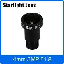 Starlight obiektyw 3MP 4mm naprawiono aperturę F1.2 dla SONY IMX290/291/307/327 bardzo niskie światło CCTV kamera AHD IP kamera darmowa wysyłka