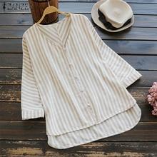 ZANZEA 2019 Summer Women Striped Blouse Autumn Long Sleeve Casual Shirt Cotton Linen Blusa Feminina Buttons Work Tops Plus Size