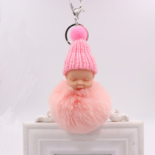 Cute Fluffy Rabbit Fur Pompom Sleeping Baby Key Chain Women Rex Bunny Fur Pompon Doll Keychain Car Keyring Toy New Year Gift