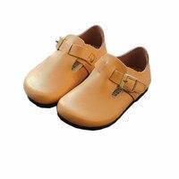2018 детская обувь из натуральной кожи для маленьких мальчиков девочек повседневная обувь Демисезонный Мокасины Мэри Джейн Стиль скольжения...