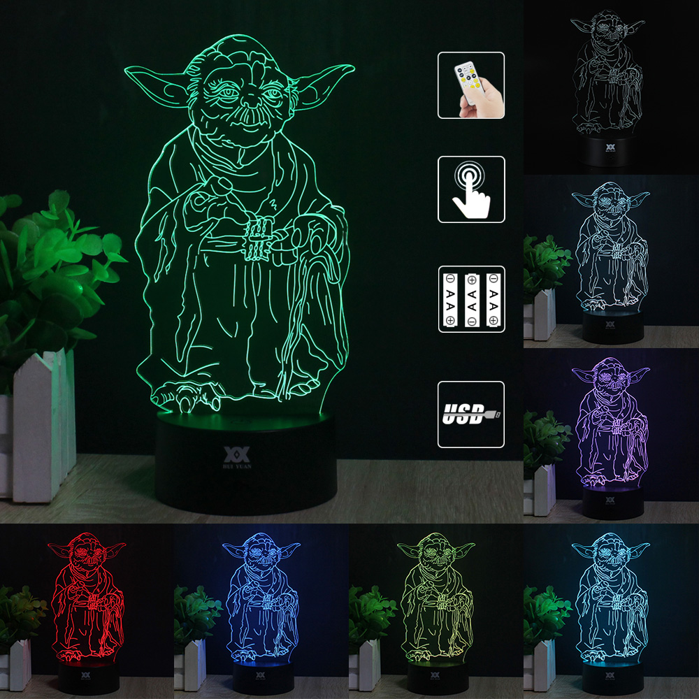 Master Yoda 3D Lamp Remote Control Night Light LED Decorative Table - Night Lights - Photo 3