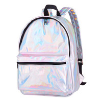 MOLAVE Backpack Girls backpack Solid backpacks female Zipper Women Fashion Colour Laser Silver School Bags Travel Bag May8