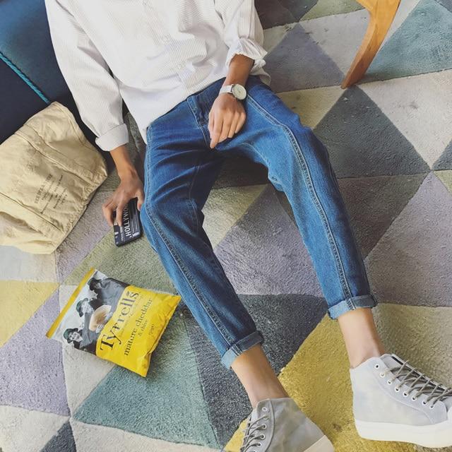 New Fashion Men Casual blue Harem Jeans Slim in Straight High-quality Elastic Waist Jeans Long Trousers Denim pencil Pants 34/33 3
