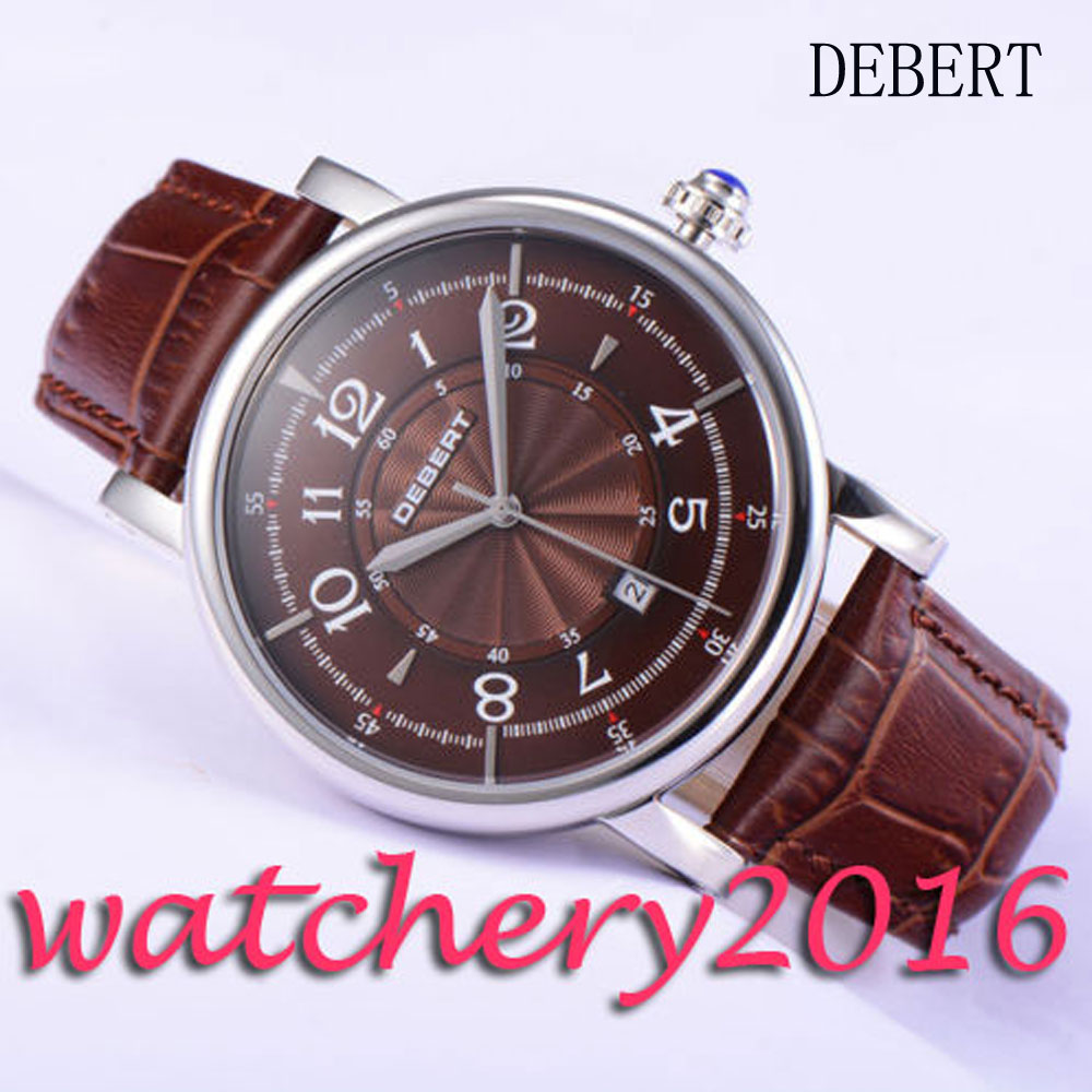 Casual 43mm Debert coffee dial polished case 21 jewels miyota 8215 Automatic movement men's Watch цена и фото