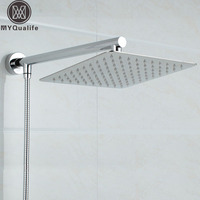 Free Shipping Chrome Finished Wall Mounted Brass Shower Arm Ultrathin Square 8 Shower Head 59 Srainless