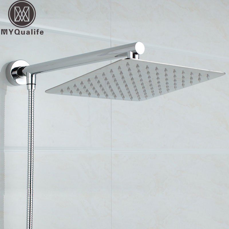 "Free Shipping Chrome Wall Mounted Ultrathin Square 8"" <font><b>Shower</b></font> Head + Brass <font><b>Shower</b></font> Arm + 150cm Srainless Steel <font><b>Shower</b></font> Hose"