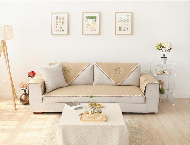 Superb 110cm Width Cotton Sofa Towel Embroidery Sectinal Sofa Cover Slip Resistant  Single Seat Double