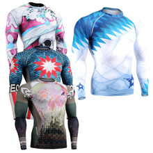 Long Sleeves T shirt Mens Skin Tights Rashguard Complete 3D Printing Compression Shirts Multi use Fitness