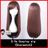 HSIU NEW High Quality D Va Cosplay Wig Overwatch Game OW Cowtume Play Wigs Halloween Costumes