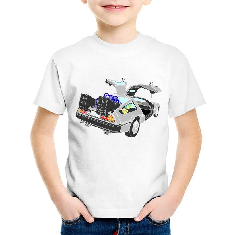 Fashion Print Terug Naar De Toekomst Auto Kinderen T-shirts Kinderen Zomer Korte Mouw Tees Jongens/meisjes Casual Tops Baby Kleding, Hkp411