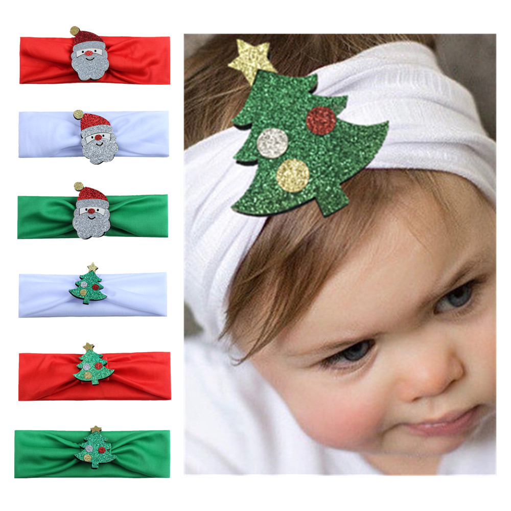 children's Christmas new cartoon pattern baby Christmas decoration scarf fashion hair with hair accessories 2017 baby headband цена 2017