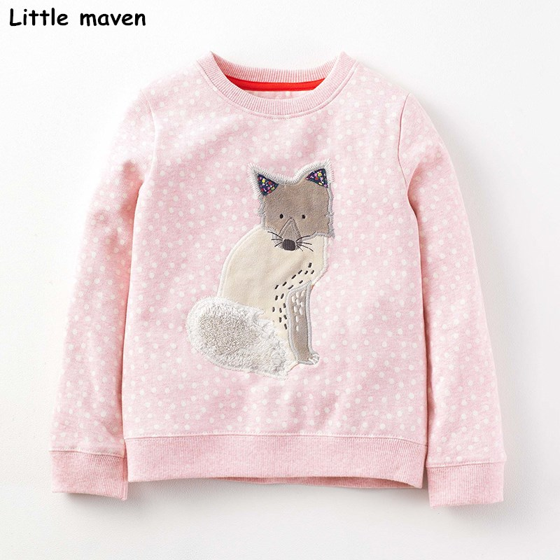Little maven children brand baby girl clothes 2017 autumn new girls long sleeve Terry Knitted polka dot fox pink t shirt C0032 fashion baby girl t shirt set cotton heart print shirt hole denim cropped trousers casual polka dot children clothing set