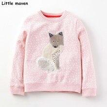 Little maven kinderen merk baby meisje kleding 2017 herfst nieuwe meisjes katoen lange mouwen o-hals stip wolf t-shirt C0032