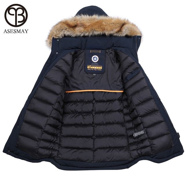Best Price Asesmay 2018 men winter jacket and coat thick warm cotton padded parka long winter mens jackets casual fashion hooded parkas