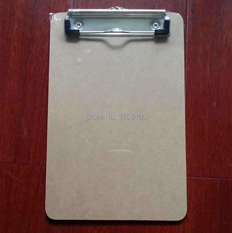 Doprava zdarma (6pcs / lot) A5 MDF psaní schránka Překližka Dřevěný soubor klip deska přenosné menu schránky podložka deska