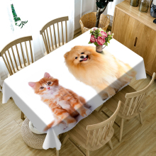 Customizable 3D Tablecloth Christmas Dog Cat Pattern Washable Cloth Thicken Rectangular and Round Table for Wedding