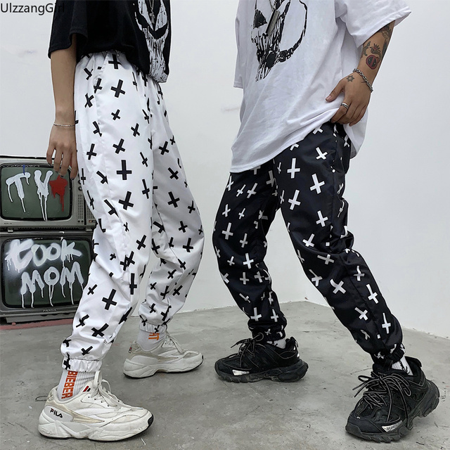 Gothic Punk Cross Graphic Pirnt Elastic Waist Pocket Cargo Jogger Pant Women/Men Streetwear Sweatpant Korean Harajuku Trouser