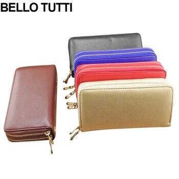 8251d46bc BELLO TUTTI billeteras de mujer largo Multi-funcional monedero hecho a mano  de cuero de mujer chicas embrague tarjeta titular de la cartera cremallera  ...