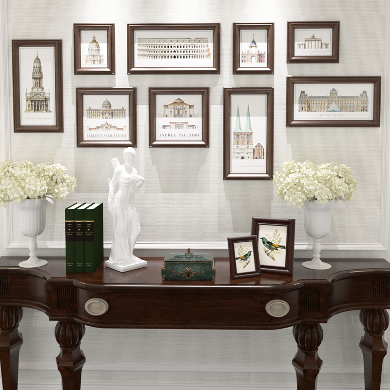 9 pcsset combination frame set brown vintage photo frame home decor wooden wedding couple