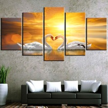 HD Print Large 5 Panel Love Way Swan Cuadros Decoracion Paintings on Canvas Wall Art for Home Decorations Decor Artwork