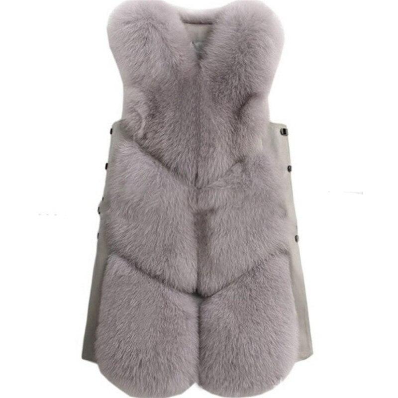 2018 nouvelle imitation fourrure de renard de mode gilet mince longue section dames de fourrure gilet gilet d'épaule d'hiver de femmes vêtements H6