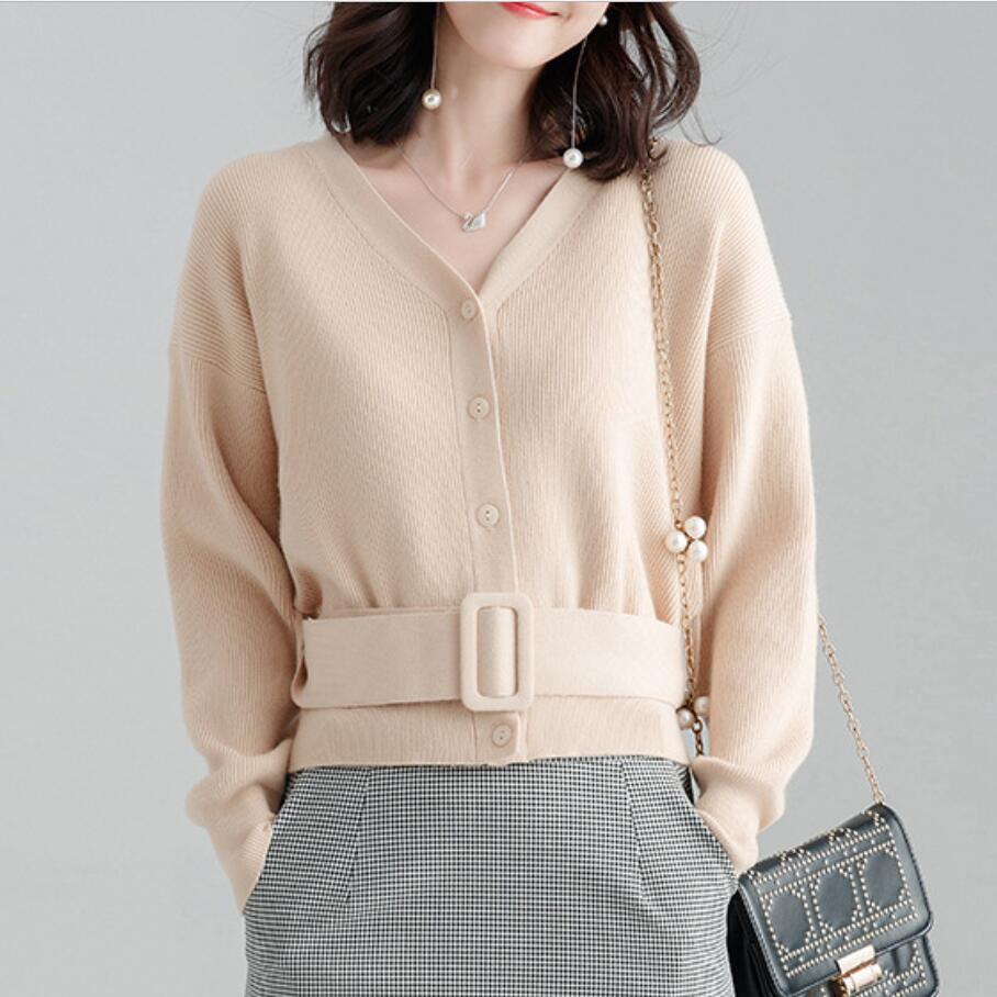 2018 automne fashionWomen tricoté Cardigan manteau décontracté col en v à manches longues Crochet tricot chandail manteau