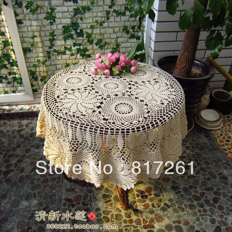 Free Shipping Flowers Lace Tablecloth For Wedding Crochet American 100 Cutout Cotton Knitted Table Cover Cloth Overlay In Tablecloths From Home