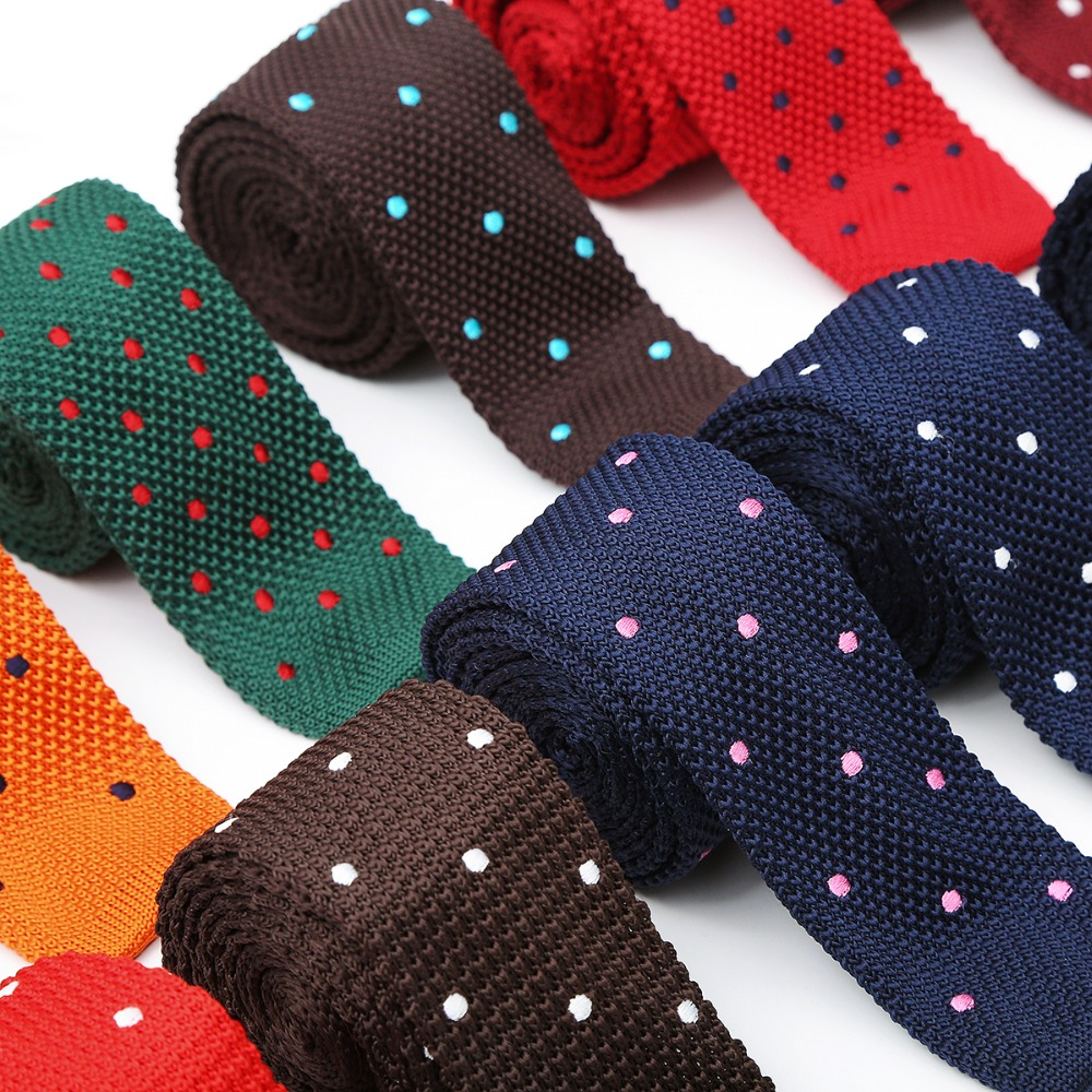 Ikepeibao Embroider Crochet Knitted Slim Navy White Skinny Knitted Skinny Ties Neck Tie Men''s Dots Necktie