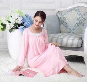 Image 3 - Spring Modal Long Sleeve Loose Long Nightgown Korean Sleeping Dress Pink White Princess Plus Size Women Sexy Sleepwear Nightwear