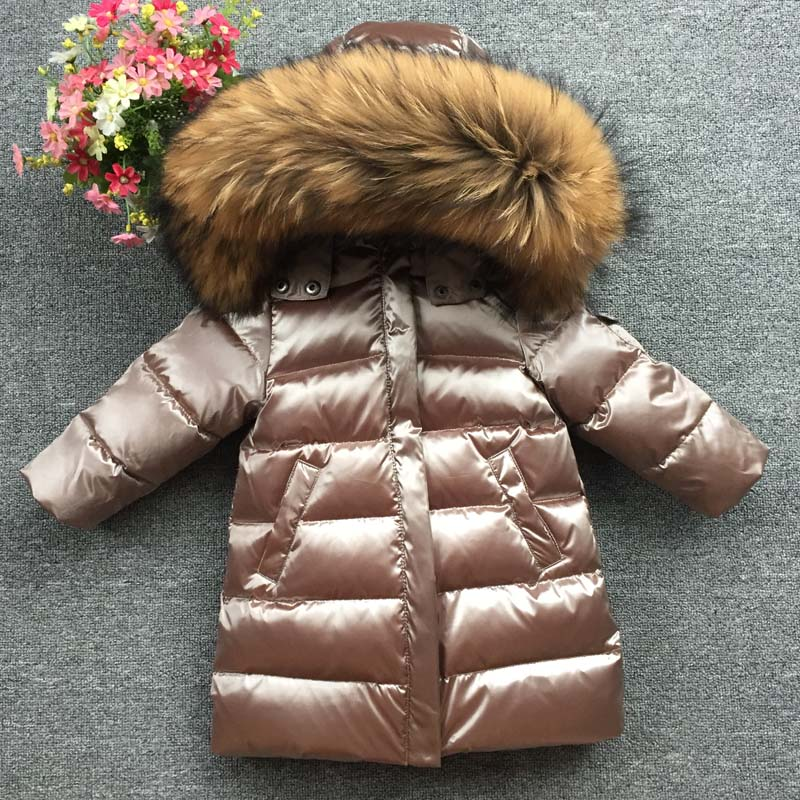 FTLZZ Large Natural Fox Fur & Raccoon Fur Collar Parkas Kids Boy Girl Hooded Long Duck Down Jaclet Thick Snow Coat Outwear цена