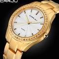 Crrju de marca superior de alta calidad relojes de vestir analógicas mujeres rhinestone de la manera reloj de señoras del reloj de regalo de acero inoxidable de oro silve